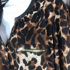 Rafaella Tops - • Rafaella Animal Print Brown Flowy Blouse Top XL